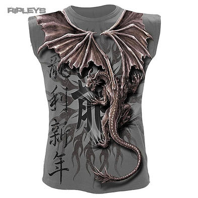 SPIRAL DIRECT Goth T Shirt ORIENTAL DRAGON Wrap Sleeveless All Sizes